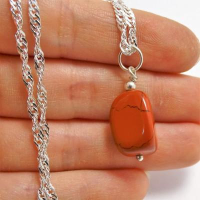 Colgante Aries / Jaspe Rojo con cadena de plata 1ª ley
