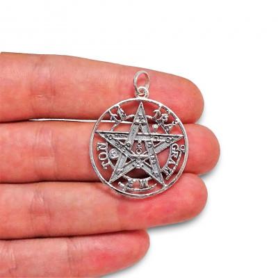 Colgante Tetragramatón grande de plata 1ª ley