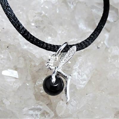 Hada onix con cordón y plata 1ª ley 925 mm