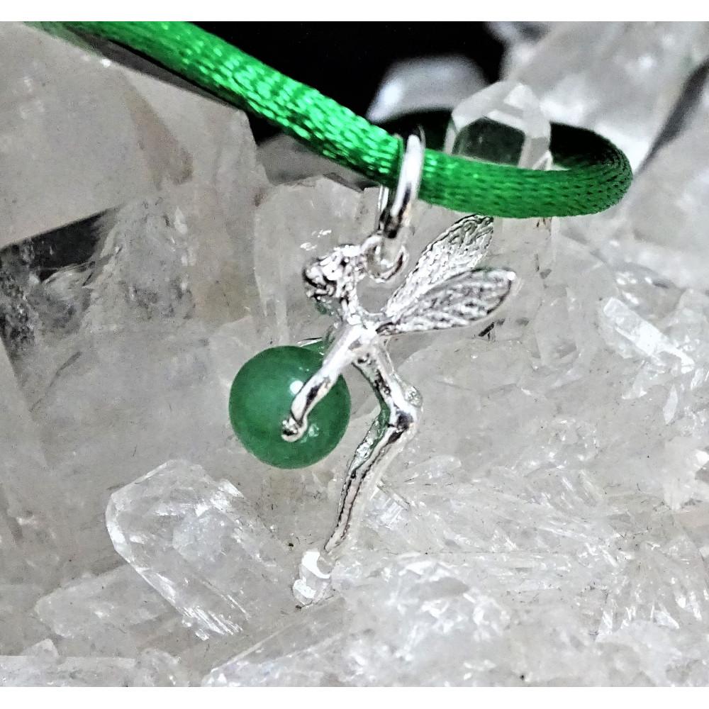 Hada cuarzo verde con cordón y plata 1ª ley 925 mm