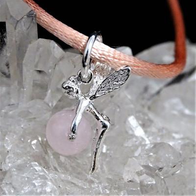 Hada cuarzo rosa con cordón y plata 1ª ley 925 mm