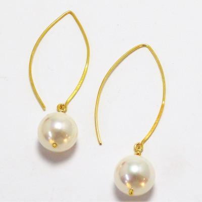 Pendientes perla de nácar y plata dorada 925 mm