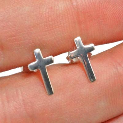 Pendientes cruz plata de 1ª ley