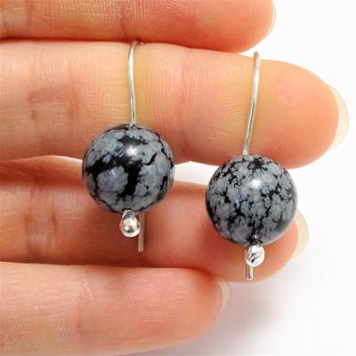 Pendientes obsidiana nevada 6 mm y plata 925 mm