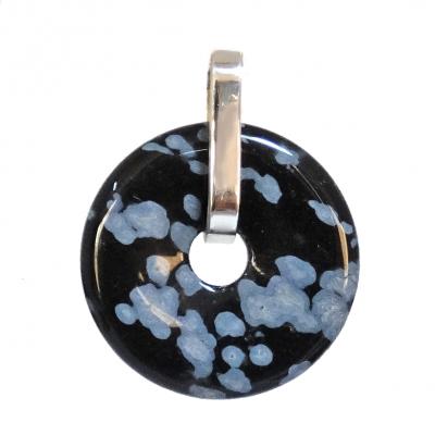 Colgante Donut de obsidiana nevada y plata de 1ª ley